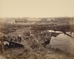 View from S.E. corner looking due N. Rock in the foreground [Victoria Dock construction, Bombay].